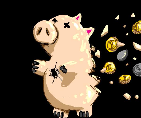 Piggy bank gets shot