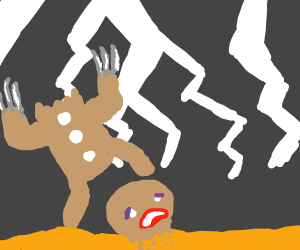 gingerbread man w/ claws standing on his face