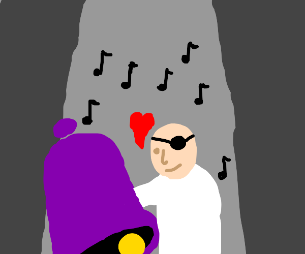 Purple bell dances with one eyed man