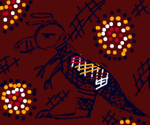 Aboriginal dot painting of a kangaeoo