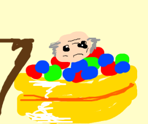 old man who's too old for ball pits
