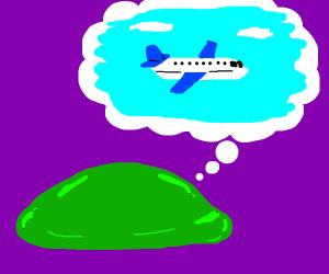 Green blob thinks of air travel