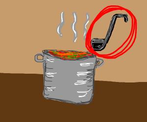 Black soup ladle