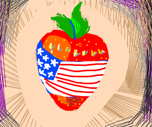 USA flag wrapping a strawberry