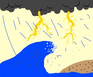 Storm + Tsunami on a desert island