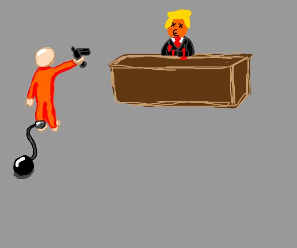 Trump gets shot by bald prisoner