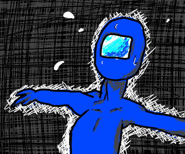 Spaceman contemplates the black void