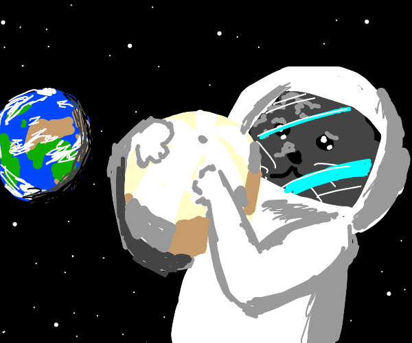 cat with white beach ball in space