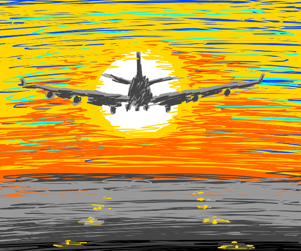 airplane taking off into the sunset