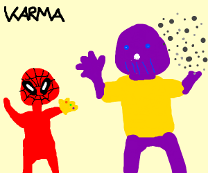 Spiderman snaps Thanos instead