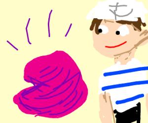 Naked sailor smiles at pink goo