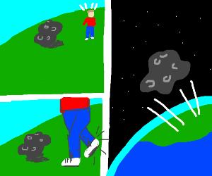 man kicks asteroid into space