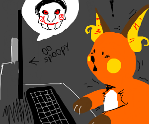 Raichu watches scary movies on computer