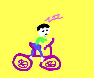 Guy fell asleep on purple bicycle