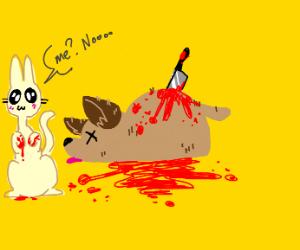 the cat murdered the dog somethin idk