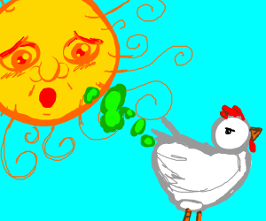 Chicken farting at the sun