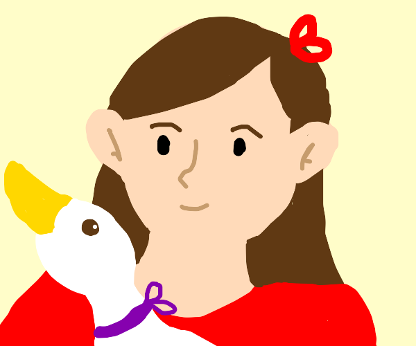 A girl and her pet duck