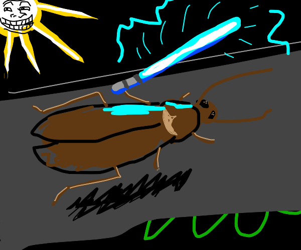 A cockroach with highly edited effects