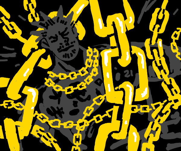 Spiky-haired rapper sleeping with gold chains