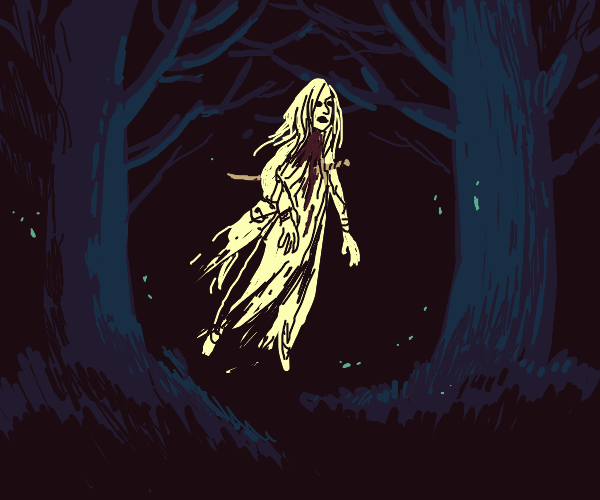 Ghost woman impaled by sword wanders a forest