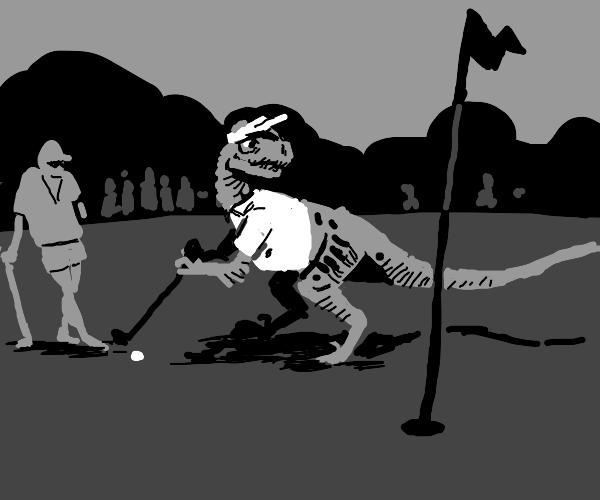 Velociraptor being profesional golf player