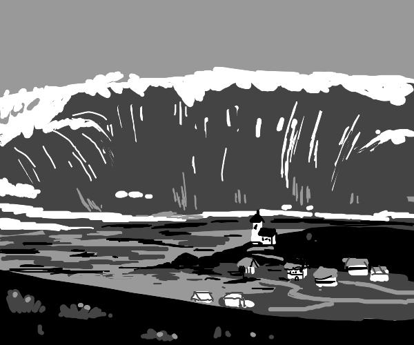 Tsunami upon the village