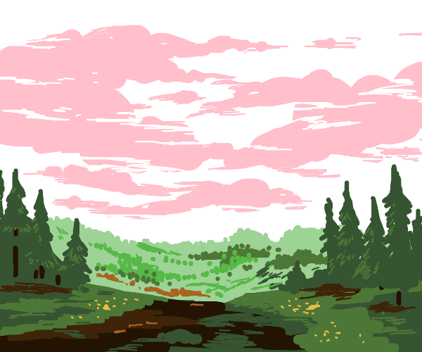 Pink clouds, white sky, over the forest