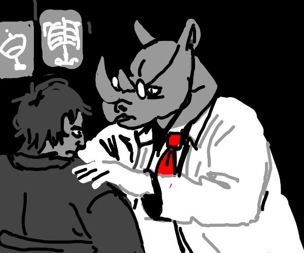 Doctor Wearing Rhino Head