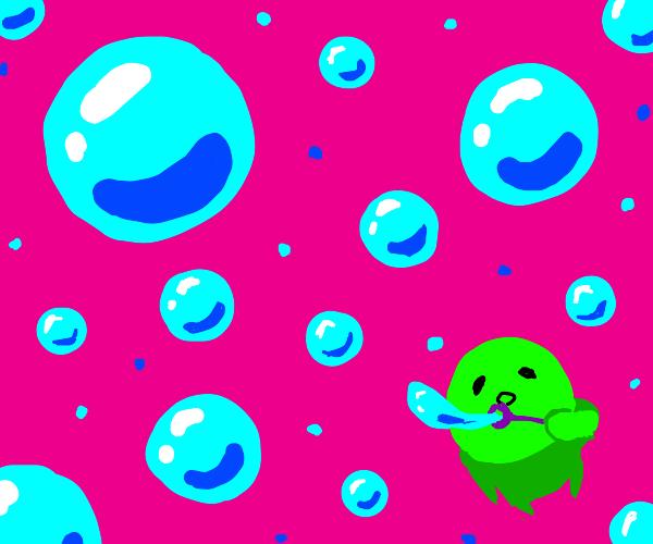 Green man blowing bubbles