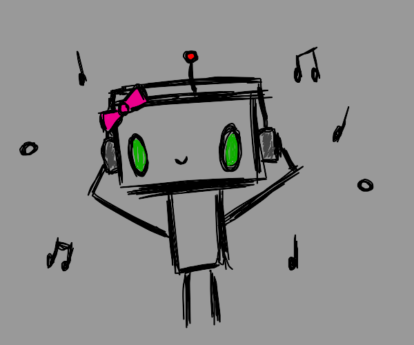 Robot girl listening to music with headphones