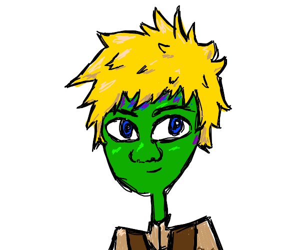A green human with blonde hair and Shrek's no