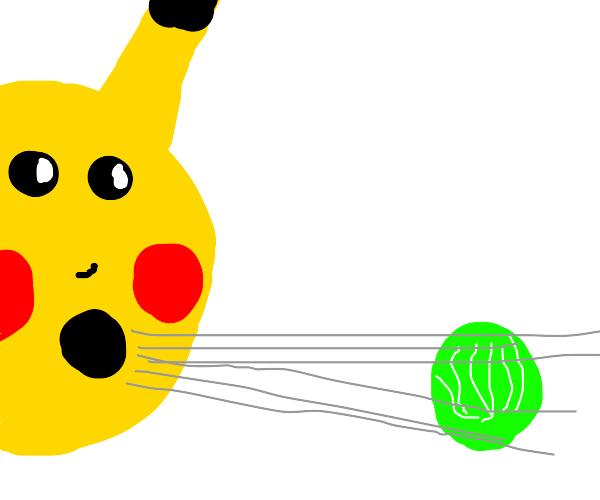 Pikachu blowing on lettuce