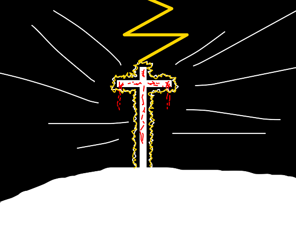 lighting strikes bloody cross