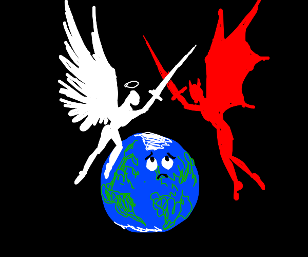 Good and Evil fight over the world