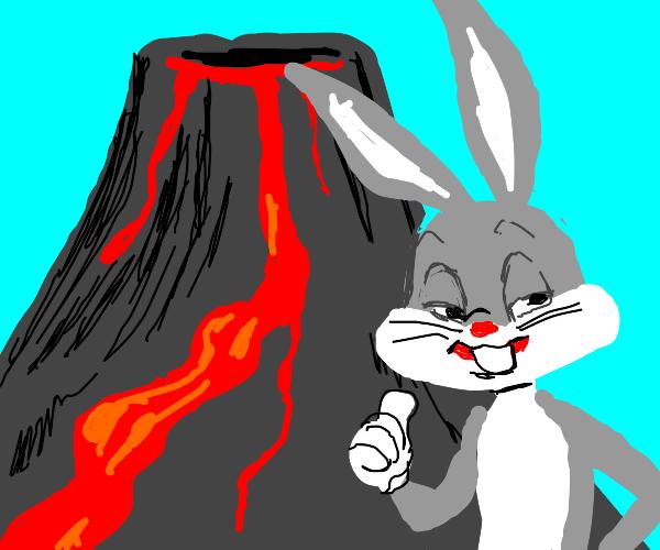 bugs bunny experiencing a volcano eruption