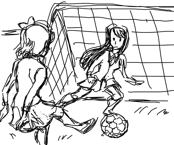 Sayori an Yuri playing soccer