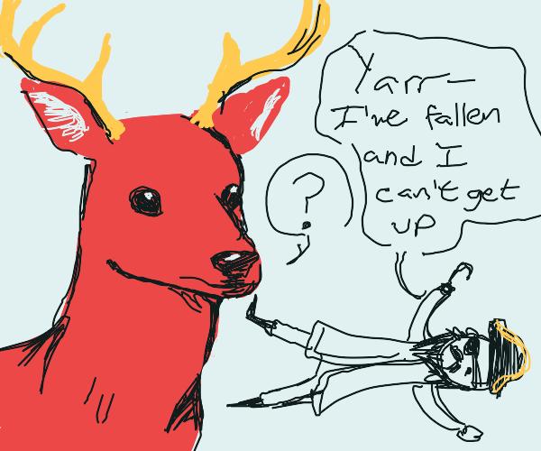 red deer confused by horizontal pirate