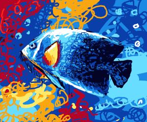 blue fish underwater