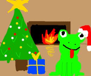 frog celebrating christmas