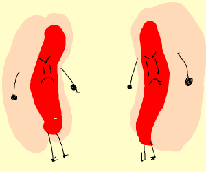 hot dogs are angry to each other
