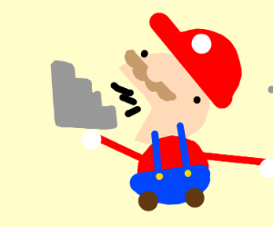 Mario eats a stairs