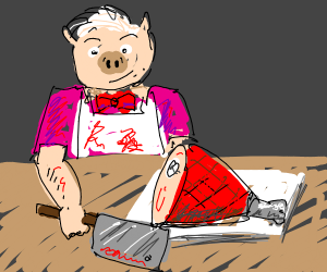 Butcher with the face of a pig