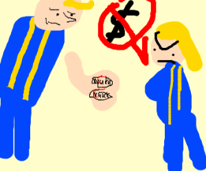 Vault boy has no cash, some girl is peeved