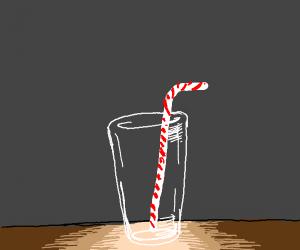 empty glass with straw