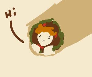 Man in burrito cave