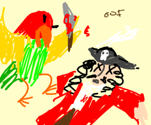 Poly the Parrot murders a pirate