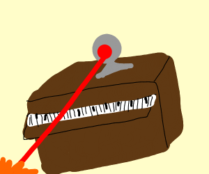 A piano with lasers coming out the top