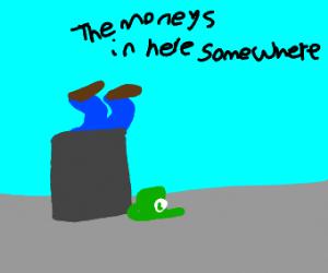 luigi looking through the trash for money