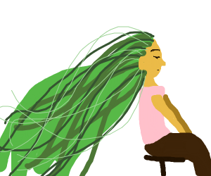 Girl with long, flowing green hair