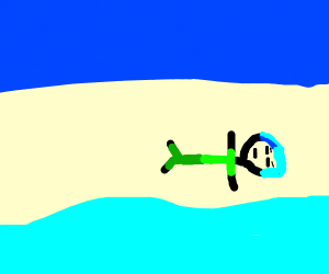 man on beach laying next to the sea